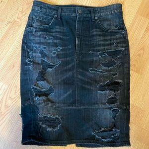 Agolde distressed black denim skirt